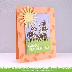card with critters, easter bunny, rabbit, hare, sun, grass border, påske kort, Ostern Karte, Egg stra Special Easter _ChariMoss1