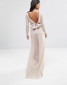 TFNC   TFNC WEDDING Bow Back Maxi Dress with Long Sleeves at ASOS