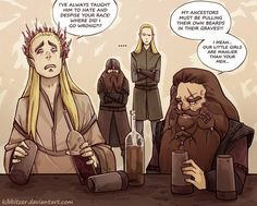 And elf and a dwarf bonding over their hatred of each other and their disappointment in their sons.