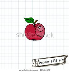 Style of children's drawing. Doodle drawing on a sheet of notebook. An Apple #bubushonok #art #bubushonokart #design #vector #shutterstock #doodle #banner #sticker #pin #stickers #badges #logos #logo #pattern #set  #love #valentines #day #hearts #heart
