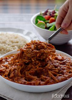 Clean Crock Pot Pulled Pork - made from scratch, no bottles of BBQ sauce, for easy clean dinner. Serve on a bun or bed of quinoa/rice.