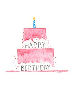 Watercolor Birthday Cards, Birthday Card Drawing, Birthday Card Design, Watercolor Cards, Happy Birthday Drawings, Happy Birthday Art, Watercolour, Birthday Cake, Happy Birthday Cards Handmade