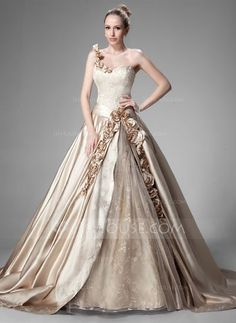 Wedding Dresses - $342.99 - Ball-Gown One-Shoulder Chapel Train Satin Lace Wedding Dress With Ruffle Beading Flower(s) (002004515) http://jjshouse.com/Ball-Gown-One-Shoulder-Chapel-Train-Satin-Lace-Wedding-Dress-With-Ruffle-Beading-Flower-S-002004515-g4515
