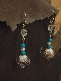 Handmade Turquoise Sea Shell Dangle Earrings by ThlayliDesigns