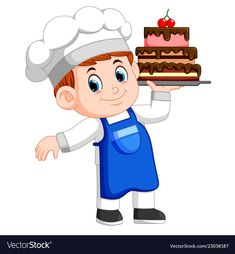 Young chef holds a tray with cake vector image on VectorStock Cartoon Chef, Cartoon Kids, Respect Activities, Burger Vector, Chef Logo, Cake Vector, Flashcards For Kids, Vintage Menu, A Level Art