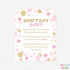 Don't Say Baby Printable baby shower games baby by OhBabyShower