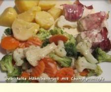 Rezept Gewickelte Hähnchenbrust mit Champignonsoße von Nadweb11 - Rezept der Kategorie Hauptgerichte mit Fleisch