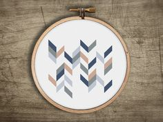 geometric chevron modern cross stitch pattern  retro by futska