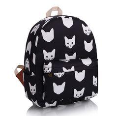 2 ColorsFashion loisirs toile sac à dos mignon noir et blanc chat sac à dos garanti qualité au japon et en corée Style cartable dans Sacs à dos de Valises et sacs sur AliExpress.com | Alibaba Group