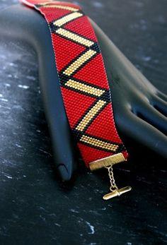 Simple Peyote Beaded Handmade Bracelet in Red by TombstoneBeads,