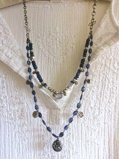 blue jean gypsy double strand gemstone necklace by sweetassjewelry Jewelry Wall, Boho Jewelry, Beaded Jewelry, Jewelery, Handmade Jewelry, Jewelry Design, Gemstone Necklace, Beaded Necklace, Strand Necklace