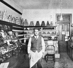 Mike Shalhoub in his grocery store on S. Alamo Street, San Antonio, Texas, ca. West Side, Grocery Store, San Antonio, The Past, Texas, Photograph, Events, Flats, History