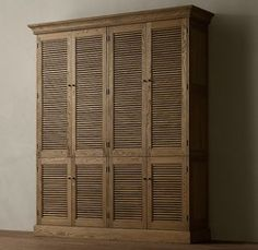 RH's Shutter Double Armoire:Angled louvers, an architectural detail first used in ancient Greece, have found a new place in the home. Wardrobe Cabinet Bedroom, Bedroom Closet Storage, Bedroom Cabinets, Wardrobe Cabinets, Wardrobe Doors, Closet Space, Closet Doors, Cabinet Doors, Tall Cabinet Storage