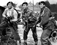 """Richard Todd (center) in """"The Longest Day"""". Todd was actually at Pegasus Bridge on D-Day, and plays Maj. John Howard, his own CO, in the film. Earlier in the film, he plays a scene with an actor playing Sgt. Bernard Montgomery, Classic Hollywood, Old Hollywood, Le Jour Le Plus Long, Lord Lovat, Beret Rouge, Richard Todd, David James, Omaha Beach"""