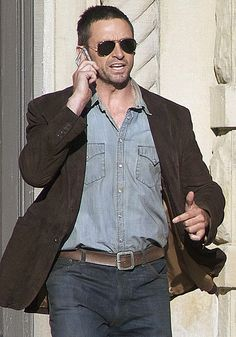 "Hugh Jackman, filming in Mason, MI for ""Real Steel"" in 2010."