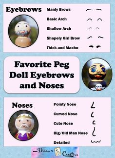 Peg Doll noses and eyebrows