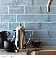 """Would love to redo the backsplash in our kitchen! Beautiful blue handmade tile backsplash Cafe Collection subway tile in """"water"""" Kitchen Interior, Kitchen Decor, Kitchen Design, Kitchen Colors, Kitchen Ideas, Kitchen And Bath, New Kitchen, Kitchen Grey, Kitchen Stuff"""