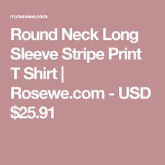 Round Neck Long Sleeve Stripe Print T Shirt   Rosewe.com - USD $25.91