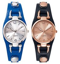 Casually Chic Strap Watch-Ladies leatherlike strap watch with round metallic color case attached onto front of straps with buckle shaped lugs and snaps. Offered in blue (silvertone dial and accents) or black (rose goldtone dial and accents). Regularly $25.99 on sale for $19.99, buy Avon cosmetics online at http://eseagren.avonrepresentative.com