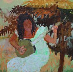 "Swannanoa Lady, 2012, Acrylic on Wood Panel, 16""x16"""