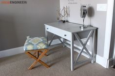 Free and easy DIY plans for how to build a flip top vanity with a hinged top. This great looking DIY vanity is functional and easily conceals all the mess. Diy Makeup Vanity Plans, Diy Makeup Vanity Table, Vanity Desk, Woodworking Tools For Sale, Woodworking Projects Diy, Easy Diy Projects, Woodworking Plans, Woodworking Equipment, Wood Projects