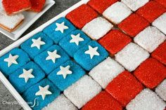 Flag cookie tray for 4th of July using bought cookies - CherylStyle