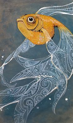 Art print, orange goldfish, with flowing white lace fins on blue stained birch wood. $28.50, via Etsy.