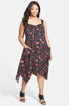 Sejour Print Washed Satin Slipdress (Plus Size) available at #Nordstrom