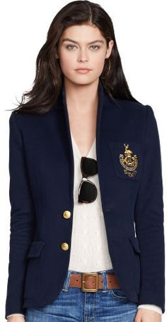 """This haute schoolgirl-chic blazer is crafted from ultra-soft cotton-blend fleece and designed with a polished, trim-fitting two-button silhouette and """"Polo Ralph Lauren"""" embroidery at the left chest pocket. Polo Ralph Lauren, Ralph Lauren Custom Fit, Ralph Lauren Jackets, Preppy Mode, Preppy Style, Fall Fashion Trends, Autumn Fashion, Women's Fashion, Camisa Polo"""