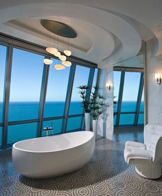 Pfuner Design has designed Jade Ocean Penthouse 2 located in Florida, USA. from Pfuner Design: The square foot 2 story penthouse is in a modern high-rise, oceanfront building in Sunny Isles Beach, Florida. We wanted the space to… Interior Design Blogs, Home Design, Design Ideas, Design Inspiration, Modern Design, Bath Design, Interior Decorating, Interior Modern, Motivation Inspiration