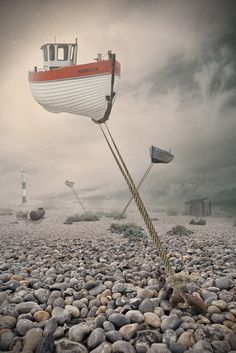 ♂ Dream imagination surrealism boat in the air Low Tide