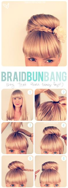 Girls with bangs (aka: fringe) seem to have some trouble finding updos. Here's one that I think is super cute and pretty easy to do. It takes about 5-10 minutes and keeps your hair out of your way all day. It's a great way to deal with second day hair if you just don't feel like doing it in the morning but have to look prim + proper for work. Here's how this bun is done.   # Pin++ for Pinterest # - Click image to find more Hair & Beauty Pinterest pins
