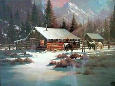 ~ Unknown Snow Scenes, Winter Scenes, Winter Horse, Old Cabins, Winter Painting, Winter Camping, Country Art, Western Art, Native American Art