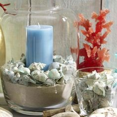 Candle in Sand and Shells