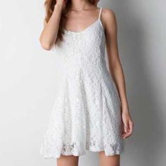 American Eagle White Lace Sun Dress White lace sun dress, adjustable straps     DO NOT PURCHASE, comment if interested and will make a separate listing! American Eagle Outfitters Dresses Midi