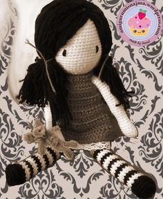 Gorjuss in sepia amigurumi doll