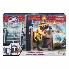 T-Rex Lockdown is a playset featuring the Jurassic World gate and a Tyrannosaurus Rex figure. The set is clearly inspired by the Jurassic Park III Raptor Attack set, which in return re-used the acc… Jurassic World T Rex, Jurassic World Wallpaper, Transformers Action Figures, Spinosaurus, Tyrannosaurus Rex, Outdoor Toys, Toys R Us, Lego, Products