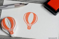 hot air balloon rubber stamp hand carved fly up by byhoneysuckle, $10.00