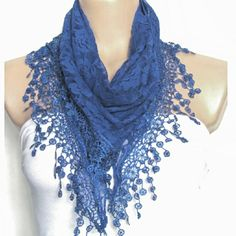 NEW! Blue lace fringe scarf New and stylish blue triangle scarf wrap with lace detailing and boho fringe work for extra glam. Accessories Scarves & Wraps