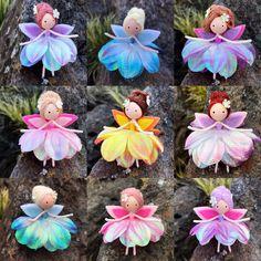 New Mini Fairies Yarn Dolls, Felt Dolls, Fabric Dolls, Fairy Crafts, Doll Crafts, Diy Doll, Easter Crafts, Christmas Crafts, Pipe Cleaner Crafts