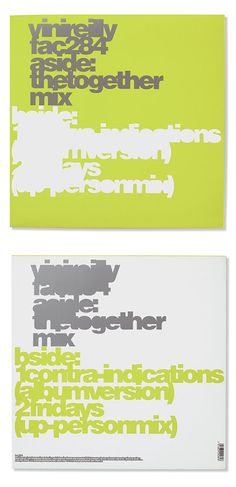 8vo. The Durutti Column, 'The Together Mix',12-inch single, 1990. From 8vo On the Outside, Lars Müller, 2005