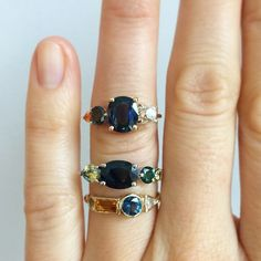 """mociun's photo on Instagram""""Few new custom babies going out into the world. Sapphire of many colors, citrine, paridot, and diamonds."""""""