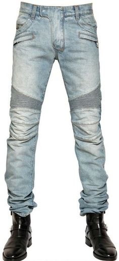 Balmain 18cm Washed Denim Biker Jeans in Blue for Men (light blue) - Lyst