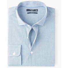 Camicia slim-fit quadri vichy - Uomo   MANGO (€30) via Polyvore