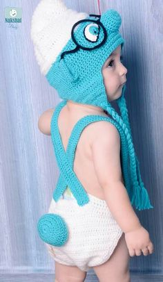 Cute Baby Smurf hat,,,,diaper cover