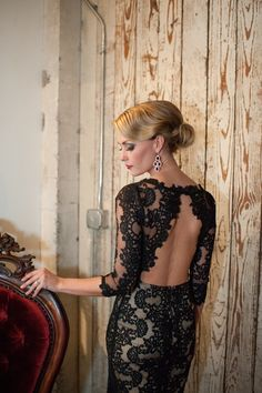 Alice + Olivia black lace gown, photo by Blue Rose Photography http://ruffledblog.com/seattle-new-years-eve-wedding #fashion #dress
