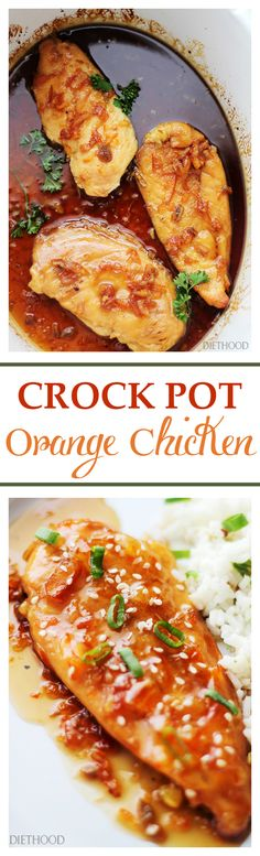 Crock Pot Orange Chicken - A delicious twist on the traditionally fried and breaded dish, this Orange Chicken is so flavorful, healthy, and it is cooked in the crock pot! Get the recipe on diethood.com