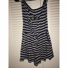 Romper  Forever 21  gray and navy stripes, has two pockets Forever 21 Dresses