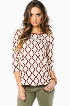 ShopSosie Style : Kenilworth Blouse in Ivory and Burgundy