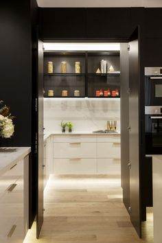 kitchen pantry design Hayden and Sara's modern kitchen has a generous butlers pantry on The Block 2018 complete with rack shelving and storage drawers. A modern black and white ki Small Kitchen Pantry, Kitchen Pantry Design, Refacing Kitchen Cabinets, Modern Kitchen Cabinets, Modern Kitchen Design, Kitchen Interior, Kitchen Storage, Kitchen Decor, Kitchen Ideas